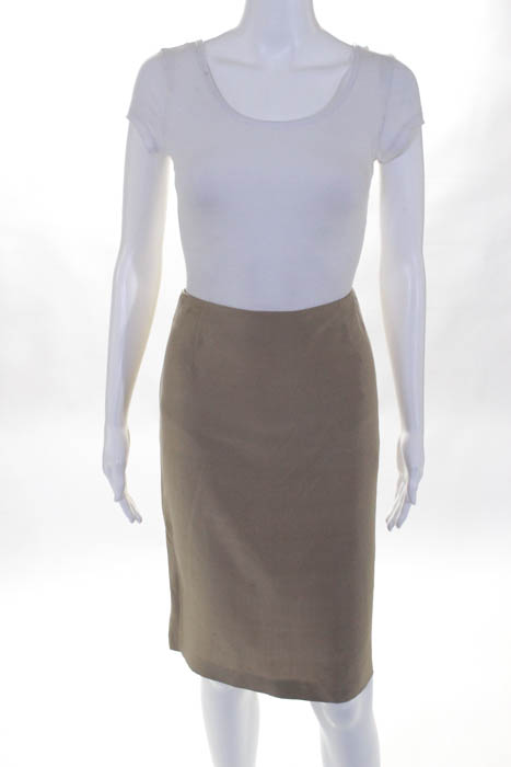 Valentino Beige Silk Inverted Pleat Back A Line Skirt Size 8