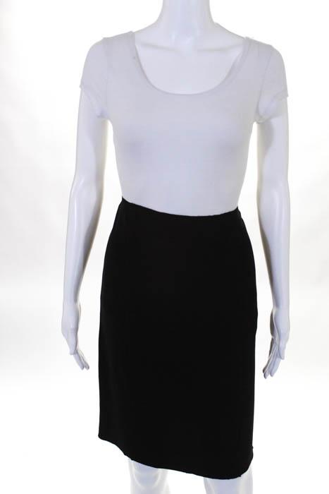 Prada Black Flat Front Knee Length Back Slit Skirt Size EUR 42