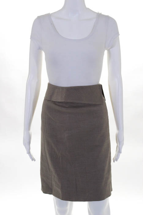 Valentino Taupe Linen Blend A Line Knee Length Skirt Size 8