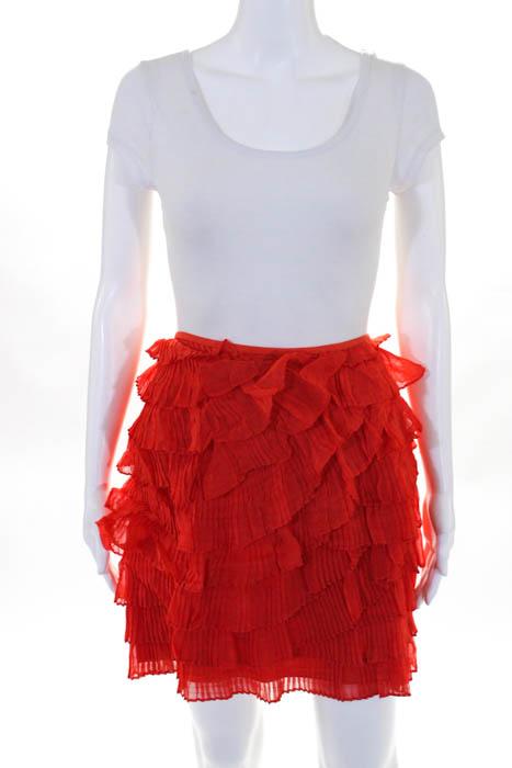 Jason Wu Orange Silk Pleated Tiered A Line Skirt Size 4