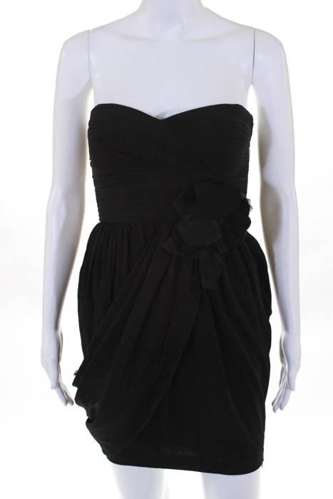 Robert Rodriguez Black Label Black Silk Floral Waist Strapless Dress Size 0