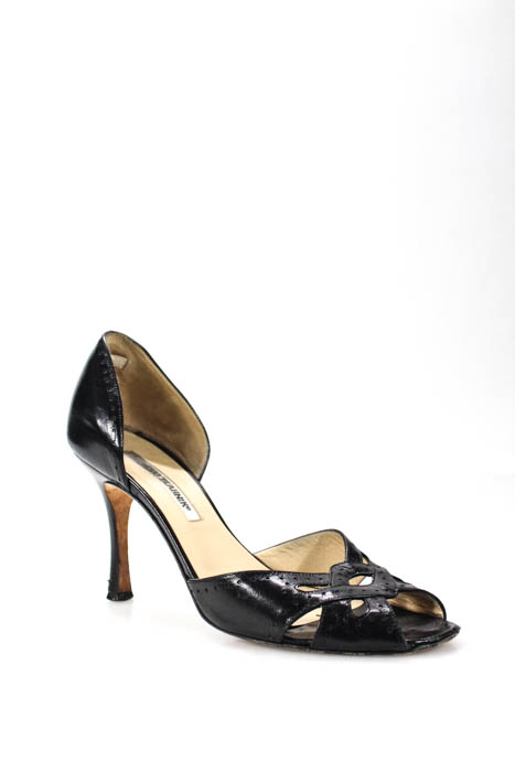 791d2dcd44e5b0 ... Manolo Blahnik Black Leather Open Toe D Orsay Pumps Size 38.5 8.5 ...