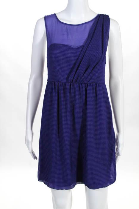 Tibi Purple Plaid Sheer Neck Detail Sleeveless A Line Dress Size 4