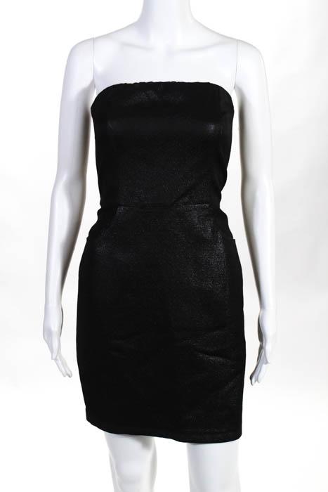 L'Agence Black Metallic Cotton Strapless 2 Pocket Mini Dress Size 2