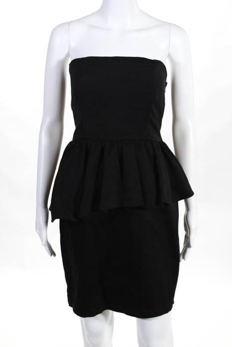 Cynthia Rowley Black Cotton Ribbed Strapless Peplum Dress Size Small
