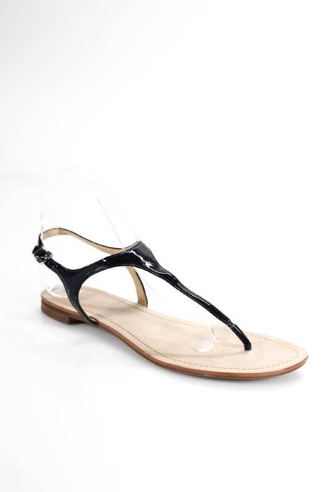 805aa55189d Blue Saks Fifth Avenue Black Patent Leather Slingbacks Sandals Size 8.5  Medium