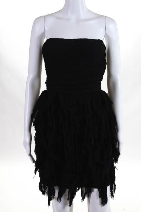 Elizabeth and James Black Silk Strapless Mini Dress Size 4