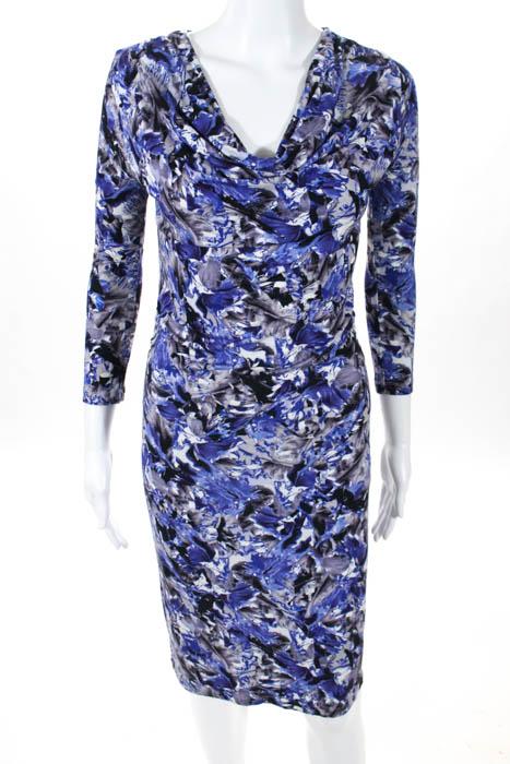 63e794e4a3e13 Isabella Oliver Purple Stretch Floral Cowl Neck Long Sleeve Dress Size 1
