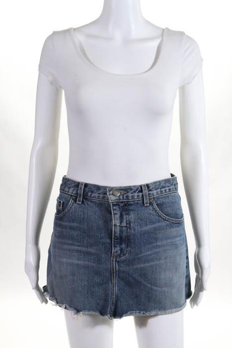 Marc Jacobs Blue Cotton Distressed Wash Denim Skirt Size 4   eBay b4b28481c3