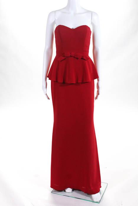 Badgley Mischka Red Rouge Rosalind Peplum Gown Size 0 $695 10336984 ...