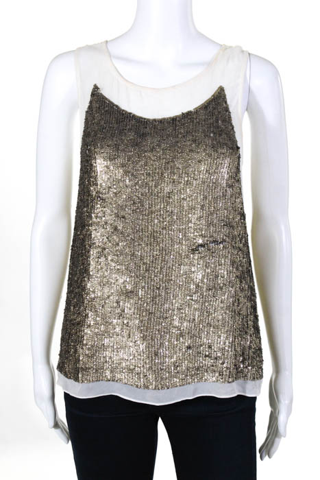 52eee82bb5afb Gryphon New York White Silk Gold Sequined Sleeveless Top Size Extra Small