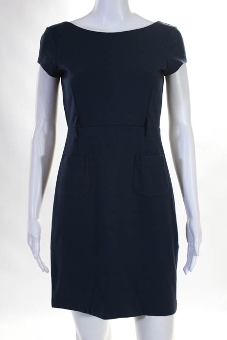 2f8ac31304 Details about Theory Blue Short Sleeve Front Pocket Dress Size Small