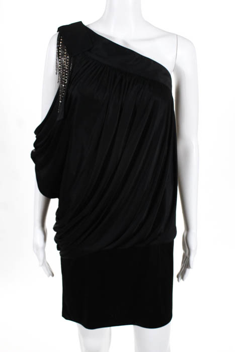 Robert Rodriguez Black Label Womens Blouse Black One Shoulder Size Extra Small