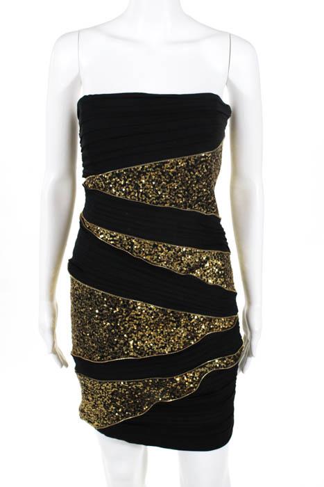 Robert Rodriguez Black Label Womens Bodycon Dress Black Sequins Zippers Size 4