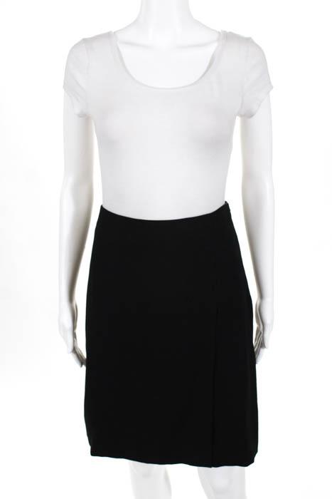 Prada Womens A Line Skirt Black Knee Length Back Slit Size Italian 36