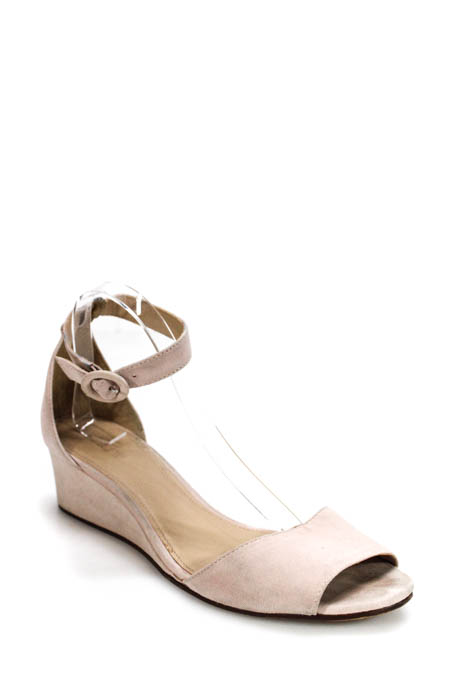 0c8bcdf94 Details about J Crew Womens Sandals 11 Pink Suede Ankle Strap Medium Wedge  Heel Open Toe