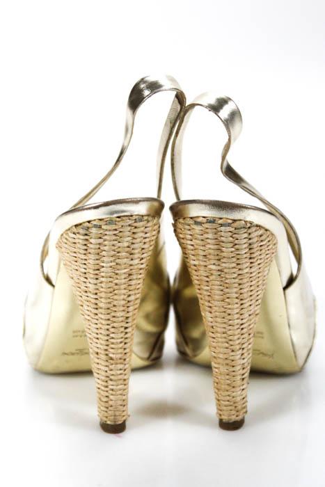 Yves Saint Laurent Damenschuhe Sandales Größe 38 8 Gold Leder Platform In Box 595