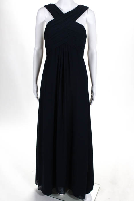 Monique Lhuillier Womens Evening Gown Size 8 Navy Blue Full Length ...