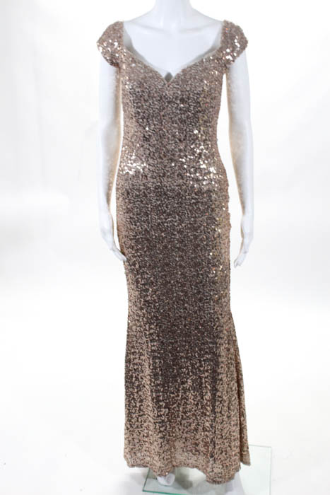 Badgley Mischka Womens Dress Size 6 Gold Sequin Off Shoulder Gown ...