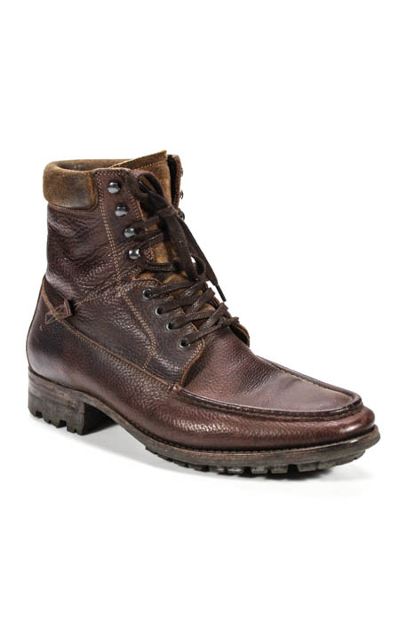 NDC. Made By Hand Mens Boots Size 43 Brown Leather Lace Up Combat