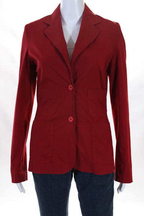 Kookai Womens Blazer Size Italian 38 Red V Neck Pocket Long Sleeve Cotton 5909841b4