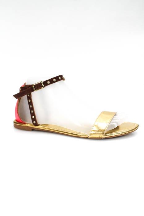 e48d25cb2 Cynthia Vincent Womens Ankle Strap Sandals Size 7.5 Gold Tone Metallic  Leather