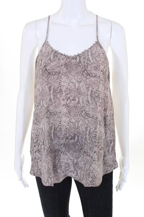 75ea2598028a00 Rebecca Taylor Womens Top Size 4 Brown Silk Snake Print Sequin Trim Scoop  Neck