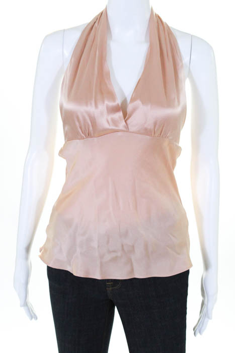 1630d244e57929 Details about Miguelina Womens Top Size Extra Small Rose Gold Pink Silk  Halter V Neck Blouse