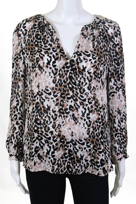 50f3adab70da Details about Joie Womens Blouse Size Small Brown White Black Animal Print  V Neck Silk Top