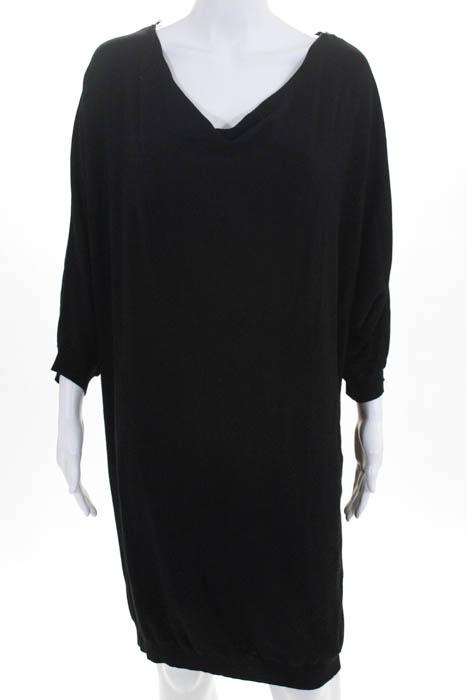 252f345bd0 Details about Kookai Womens Dress Size 1 Black Dolman Sleeve Boat Neck Knee  Length