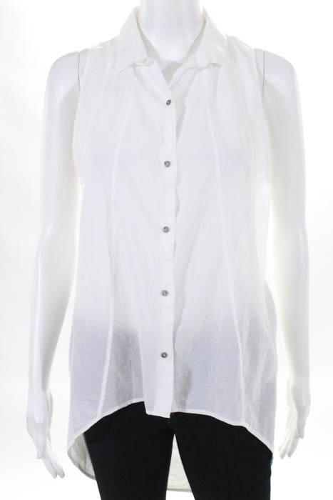 59934e604e8674 Details about Helmut Lang Womens Blouse Top Size Medium White Cotton  Sleeveless Button Front