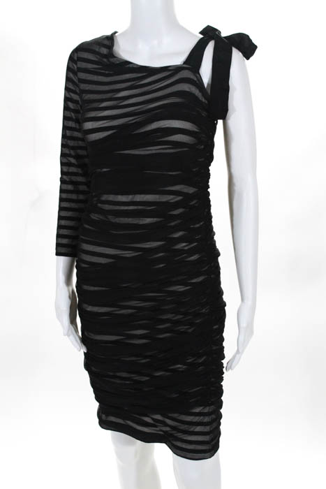 Bcbg Max Azria Womens Black White Striped Ruched One Shoulder Dress