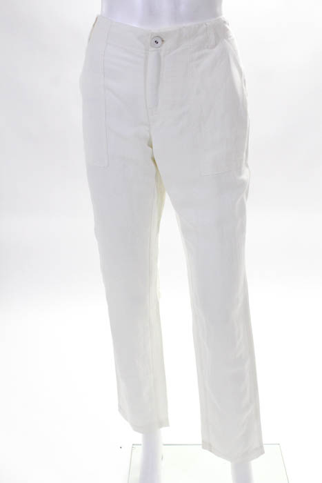 Leo & Sage Womens Casual Pants Size 4 Off White Cotton Straight Leg New  288