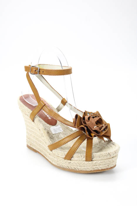 77d6330bb2e Details about Bettye Muller Womens Espadrilles Size 37 Brown Leather  Strappy High Wedge Heel