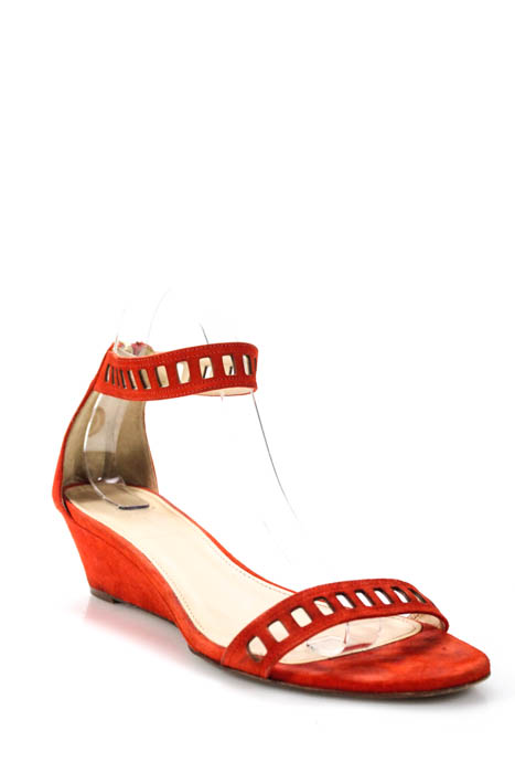 e80f28dff66 J Crew Womens Sandals Size 8.5 Wedge Suede Orange Cutouts Ankle Strap Zipper