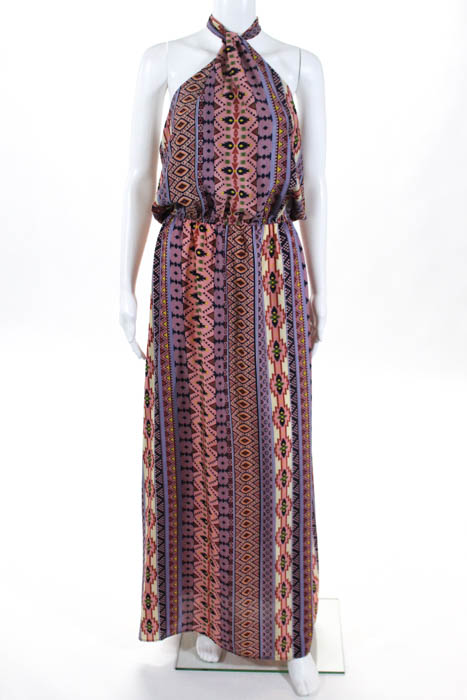 af5e083c38d322 Karen Zambos Womens Multi Colored Abstract Print Halter Top Maxi Dress Size  Medi