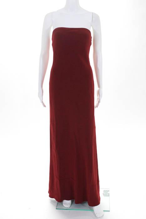 Ralph Lauren damen Evening Gown Größe 6 rot Silk Strapless Side Slit Zipper