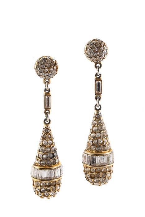 Image Is Loading Ben Amun Gold Deco Crystal Teardrops Earrings 205