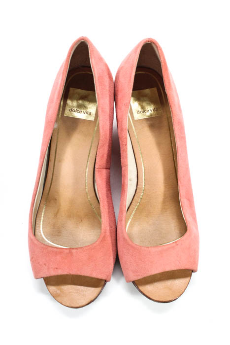 e51fefc96475 Dolce Vita Women s Wedges Size 7 Pink Suede Peep Toe