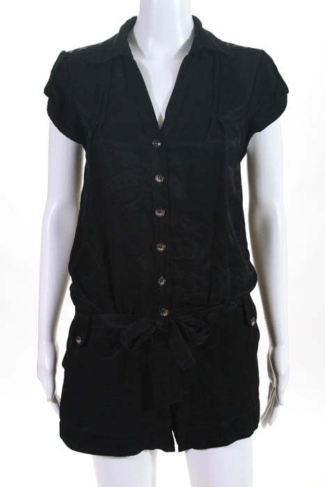 511561c8817 Ella Moss Womens Romper Size Extra Small Black Button Down Collared One  Piece