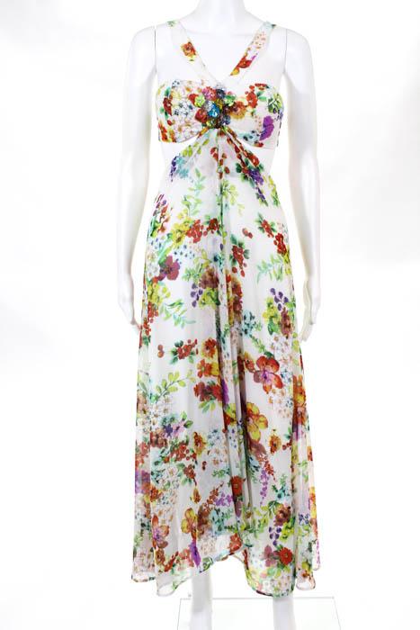 Marc Bouwer Hybrid Womens Maxi Dress Size 4 White Multicolored