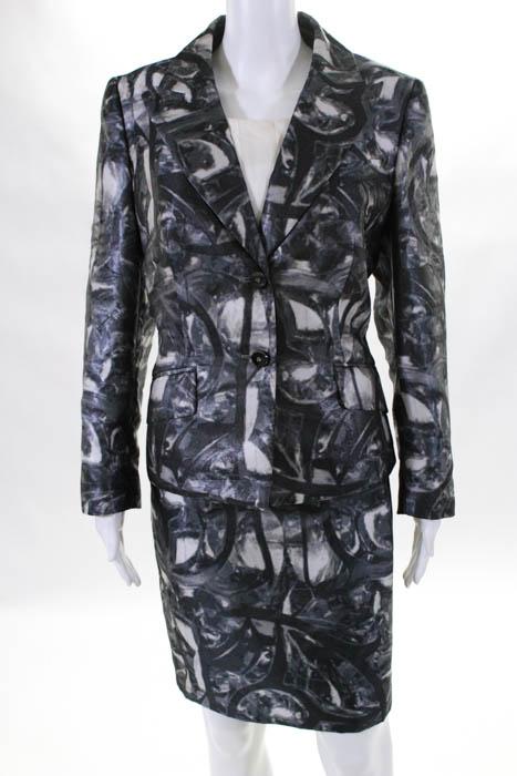 Escada Womens Dress Suit Size European 42 Gray Beige Printed Button