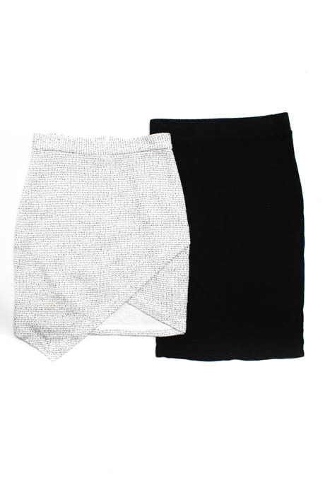 Lanston Womens Skirts Size Extra Small White Black Mini Pencil