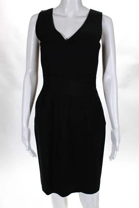 J Crew Womens Little Black Dress Size 0 Sleeveless V Neck Knee