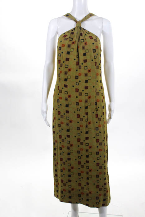 0b0216fc50 Details about Carmen Marc Valvo Womens Green Multi Colored Geometric Print  Maxi Dress Size 12