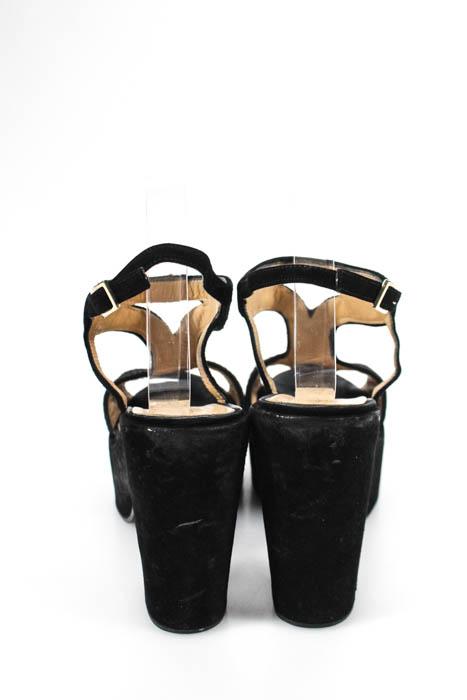 e74c0e4ae432 Elle Zeta Womens Sandals Size 41 11 Black Suede Woven Applique Ankle ...