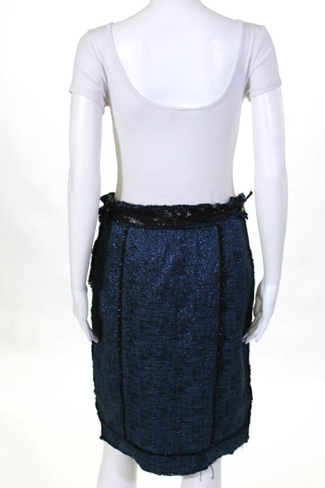 09f14a3c Details about Marc Jacobs Womens Skirt Size 8 Black Blue Sparkle Accent  Straight Pencil