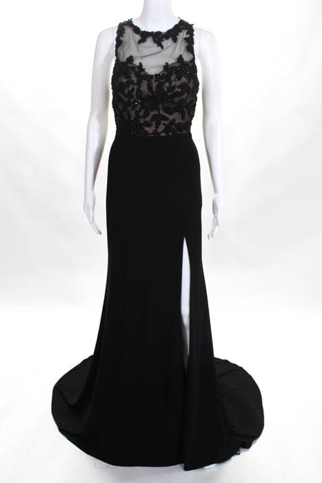 Terani Couture Womens Gown Size 8 Black Beaded Open Back Sleeveless ...