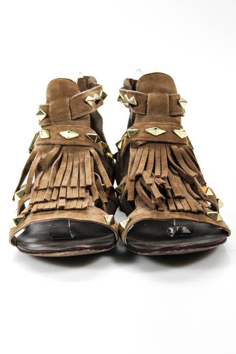 2fc847159 Ash Womens Brown Gold Studded Fringe Mascara Gladiator Sandals Size ...