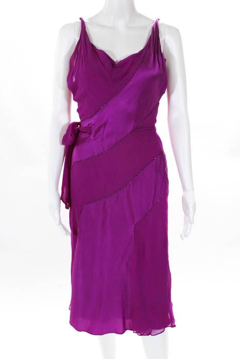 5e14277aa9264 Diane Von Furstenberg Womens Dress Size 2 Fuschia Scoop Neck Sleeveless Silk